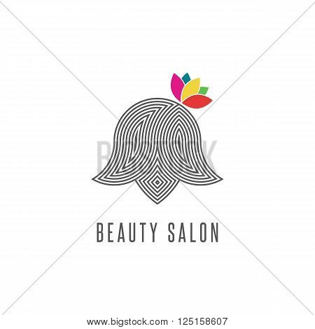Hairdressing salon logo silhouette abstract face woman with flower line monogram barbershop emblem modern hairstyle creative beauty parlor icon