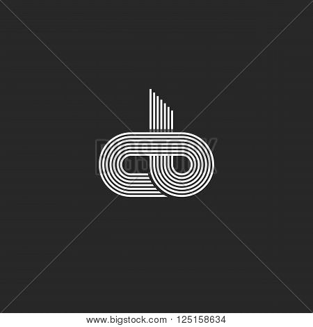 Initials Cb Logo Monogram, Linked Together C B Letters Mockup Business Card Emblem, Offset Thin Line