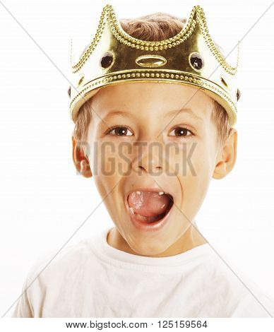 little cute boy wearing crown isolated close up on white, adorable king