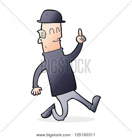 cartoon man wearing british bowler hat
