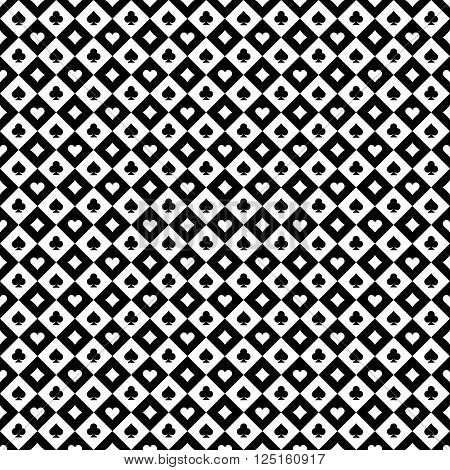 Playing Cards Signs Casino Black And White Checkered Seamless Pattern Background.