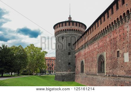 fragment of the fortress wall and a corner tower of the Sforzesco Castle