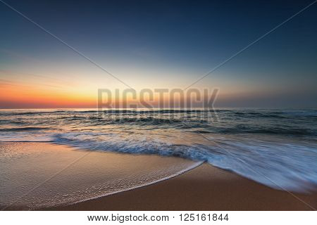Beautiful sunrise over the sea, colorful sky
