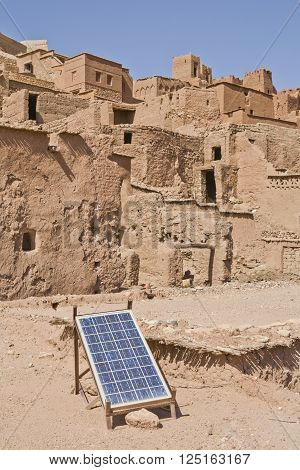 Aït Benhaddou solar panel placed over adobe roof