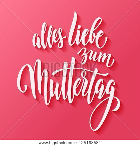 Muttertag Liebe vector greeting card. Mother day hand drawn calligraphy lettering German title. Pink red wallpaper background.