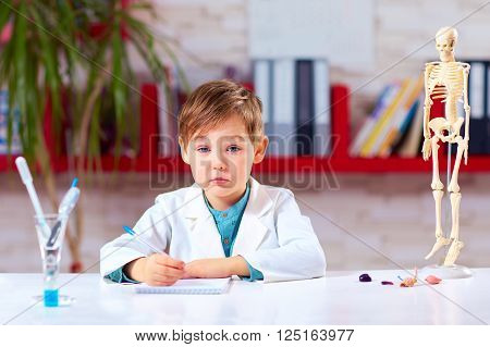 Tired Kid Is Boring In School Lab After Experiment