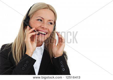Business-Frau sprecht mit headset