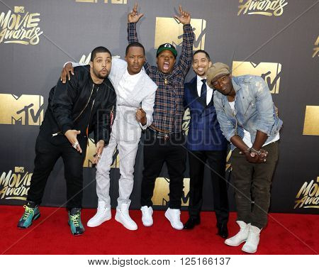 O'Shea Jackson Jr., Corey Hawkins, Neil Brown Jr., Jason Mitchell and Aldis Hodge at the 2016 MTV Movie Awards held at the Warner Bros. Studios in Burbank, USA on April 9, 2016.