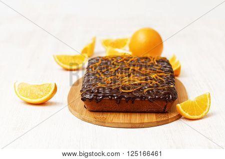 Chocolate And Orange Cake With Orange Peel