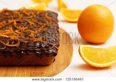 Closeup Chocolate Cake With Orange Peel