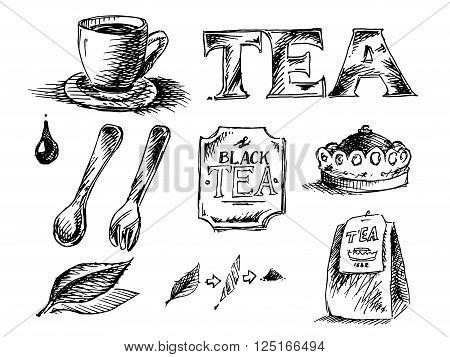 Tea Icons Set . Hand drawn black and white vector stock illustration