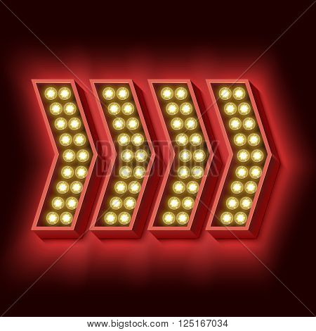Retro red arrow. Volumetric vintage sign with lights. Neon red light falls on the black wall. illustration