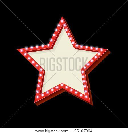 Red retro star frame. The symbol vintage volume with stars glowing lights. Starry frame with neon lights. Frame Hollywood star. Blank white space for your text ads business. illustration