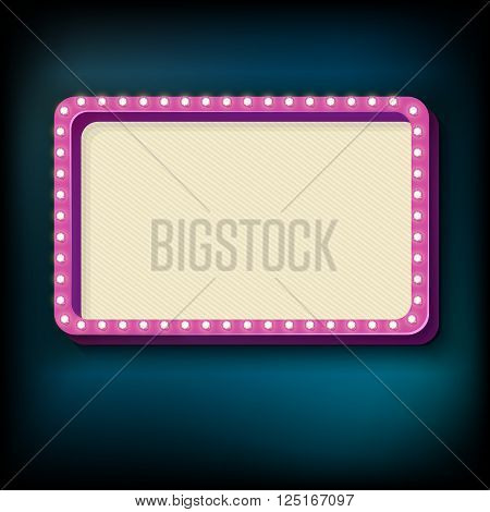 Rose retro rectangular volume with light bulbs. Realistic 3c frame with bright lights and blank space for text. Blue light from the lamp falls on a black background. illustration