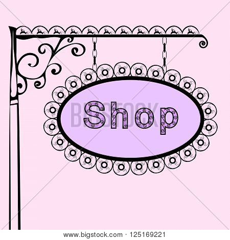 shop text on vintage street sign Patterned forged street signboard with the text. Vector illustration
