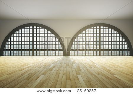Spacious loft interior design with huge framed semicircular windows and wooden floor. 3D Rendering