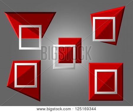 Vector Modern Origami Geometric Red 3D Frames On Grey Background. Vector Illustration