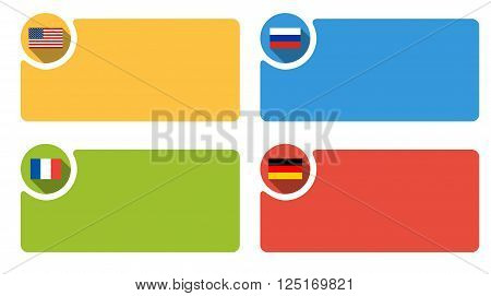 4 labels with flag of USA Russia France and Germany - in isolated colorful boxes with rounded corners infographic template