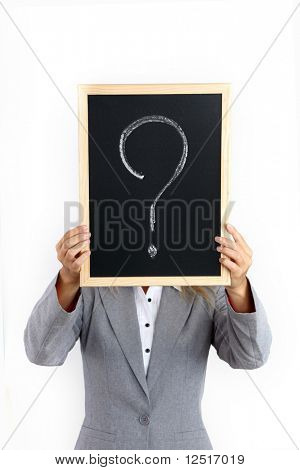 business woman take question sign