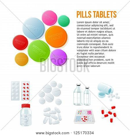 Large round pills, different pills and white and color on a white background, vector illustration with set of drugs., colorful products. Bottles and boxes with colored vitamins. Things to human health