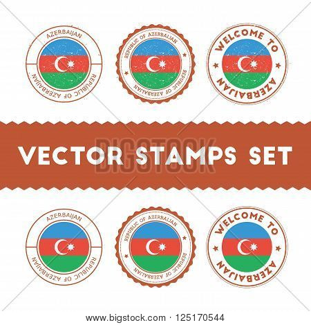 Azerbaijani Flag Rubber Stamps Set. National Flags Grunge Stamps. Country Round Badges Collection.