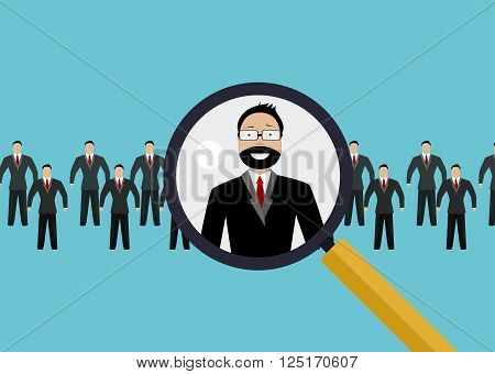 Vector illustration of finding professional staff with magnifying glass. Concept of Hiring, recruitment, employment, recruiting. Vector flat illustration
