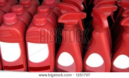 Bottles Of Cleaning Product.Bleach.Polish.Disinfectant