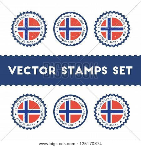 I Love Norway Vector Stamps Set. Retro Patriotic Country Flag Badges. National Flags Vintage Round S