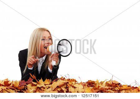 autumn businesswoman with megaphone