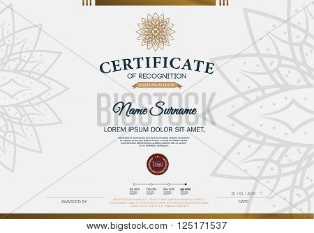 Certificate OF RECOGNITION frame design template layout template in A4 size
