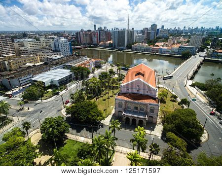 Capibaribe river, Santa Isabel Theater in Recife, Brazil