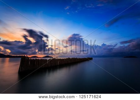 Long exposure of magic colorful sunrise at Saphan Hin, Phuket, Thailand
