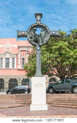 PORT ELIZABETH, SOUTH AFRICA - FEBRUARY 27, 2016: Monument in memory of those seafarers searching for Prester John