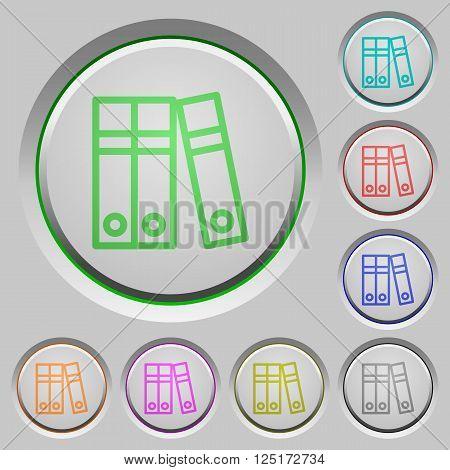 Set of color Document folders sunk push buttons.