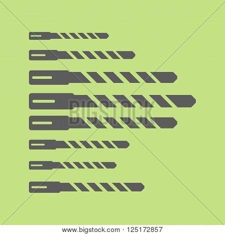 Set of steel hammer drill bits. Different shapes. Vector illustration
