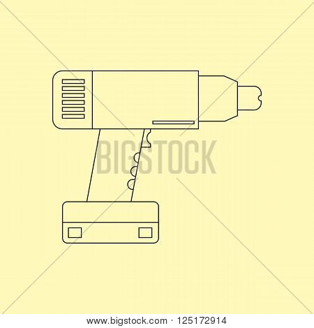 Electric drill. Cordless battery construction hand drill tool illustration isolated on yellow background. Vector illustration