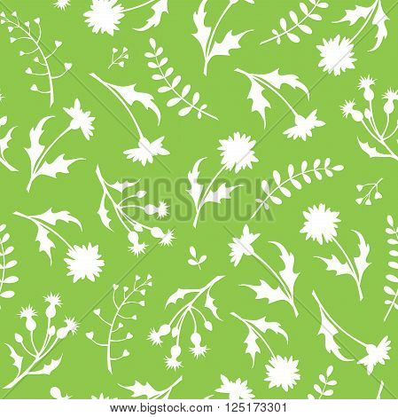 Vector seamless pattern with white wild flowers on a green background.
