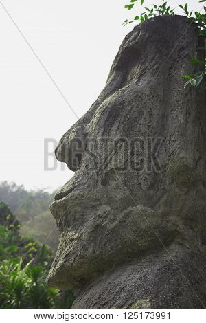 the old stone face sculpture of Thailand