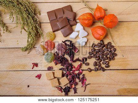 Coffee Beans, Hibiscus Tea, Lump Sugar, Chocolate And Marmalade
