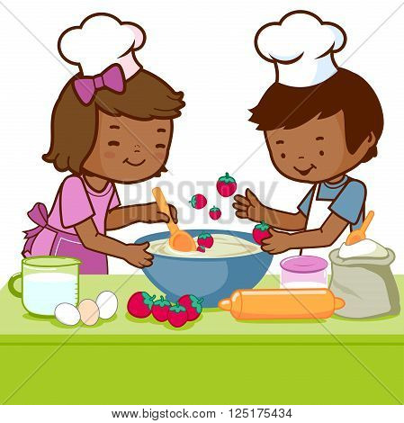 Vector Illustration of a little African boy and a little girl having fun and cooking together in the kitchen.