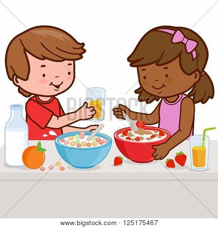 Two children, a girl and a boy enjoy their healthy breakfast of cereal, milk, juice, and fruits.