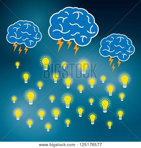 Brainstorm is brain and lightning of power creative business idea. Lamp for innovation and sucess on vector illustration.