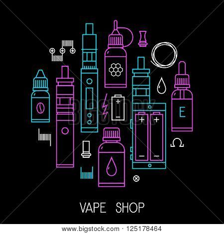 Vape icons set Isolated on black background. Vector illustration of vape and accessories