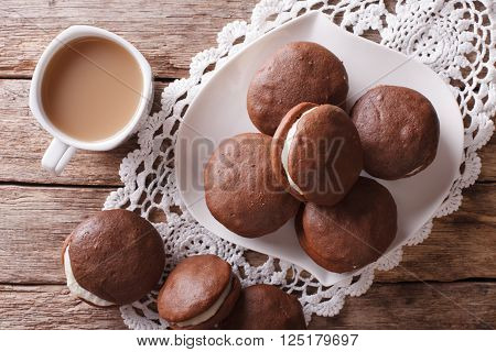 Whoopie Pie Dessert And Coffee Close-up On The Table. Horizontal Top View