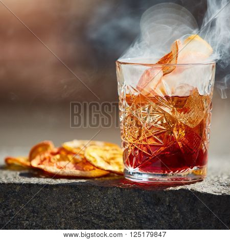 The Negroni. Old fashioned cocktail. Shallow dof