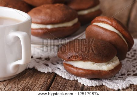Delicious American Whoopie Pie And Coffee Macro. Horizontal