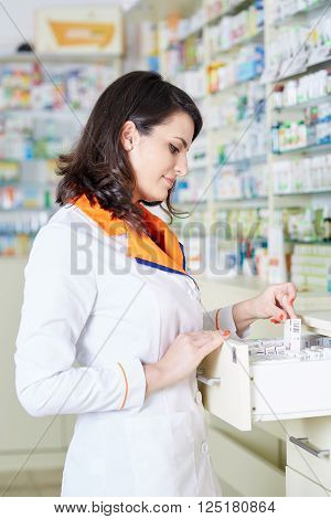 Pharmacist Woman Picking Medicine