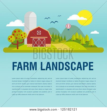 Farm flat Landskape with text. Natural background, organic farm products. Tree and farm house elements.