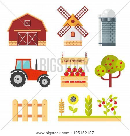 Farm flat vector set. Isolated farm elements on whie background.  agriculture farm house and tractor. Farm food, farm object