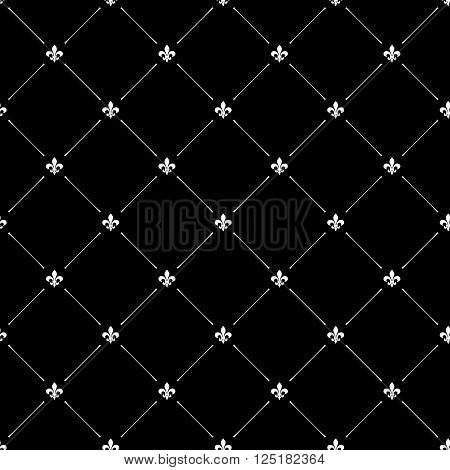 Fleur De Lis Black Dark Seamless Pattern Background